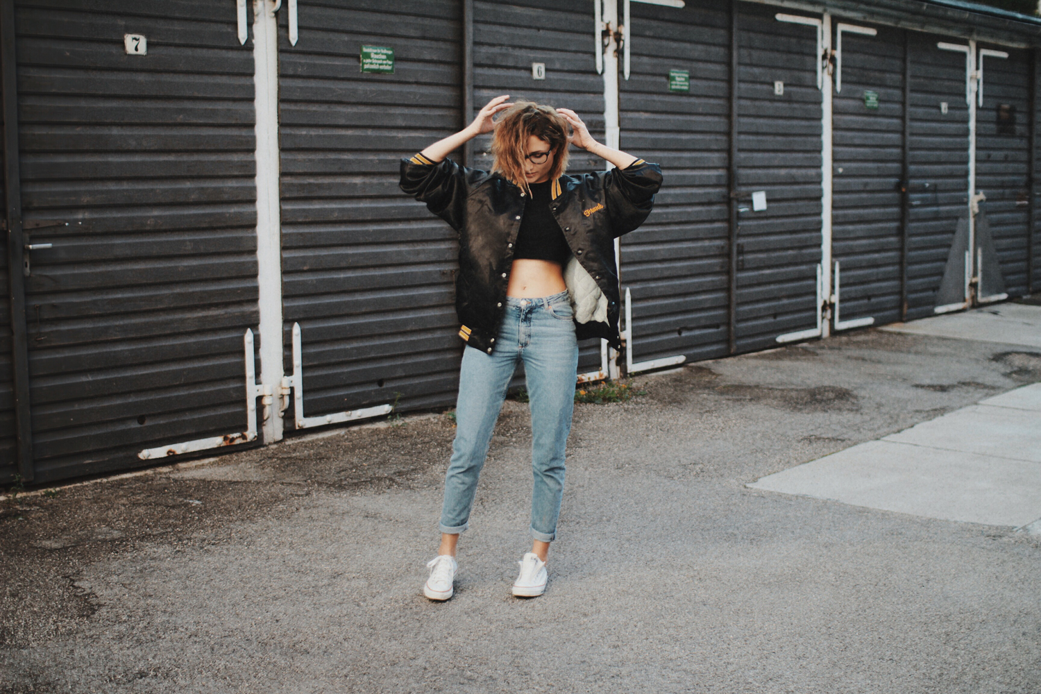 Outfit: Bomberjacke second hand